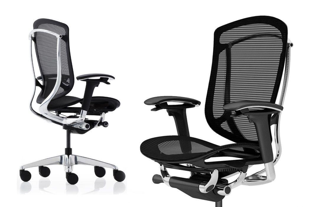 Okamura Contessa Seconda Full Black Mesh Polished Chair