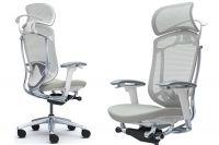 Židle Okamura Contessa Seconda Bílý plast Světle šedá látka