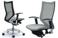 Židle OKAMURA CP Rám leštěný Sedák Světle Šedá Látka