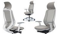 Židle Okamura SYLPHY Bílá kostra Světle Šedá síť