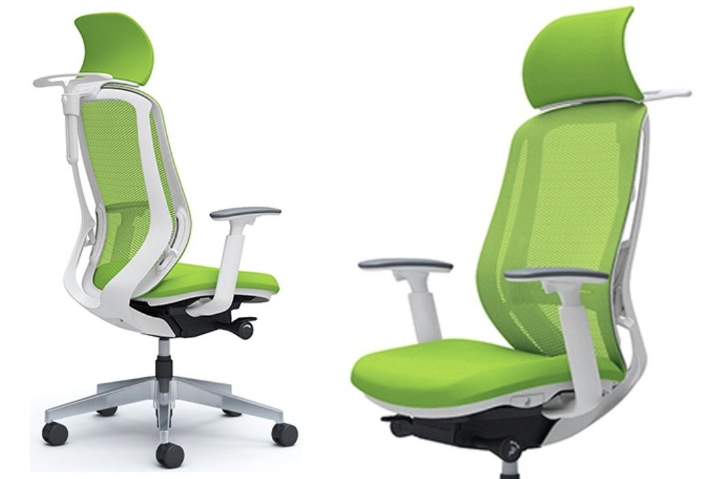 OKAMURA SYLPHY Lime Green mesh White shell Chair