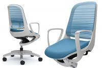 Židle OKAMURA LUCE Bílý plast Aqua Blue
