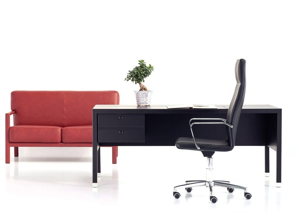 Černý Kožený Stůl s Zásuvkami L102