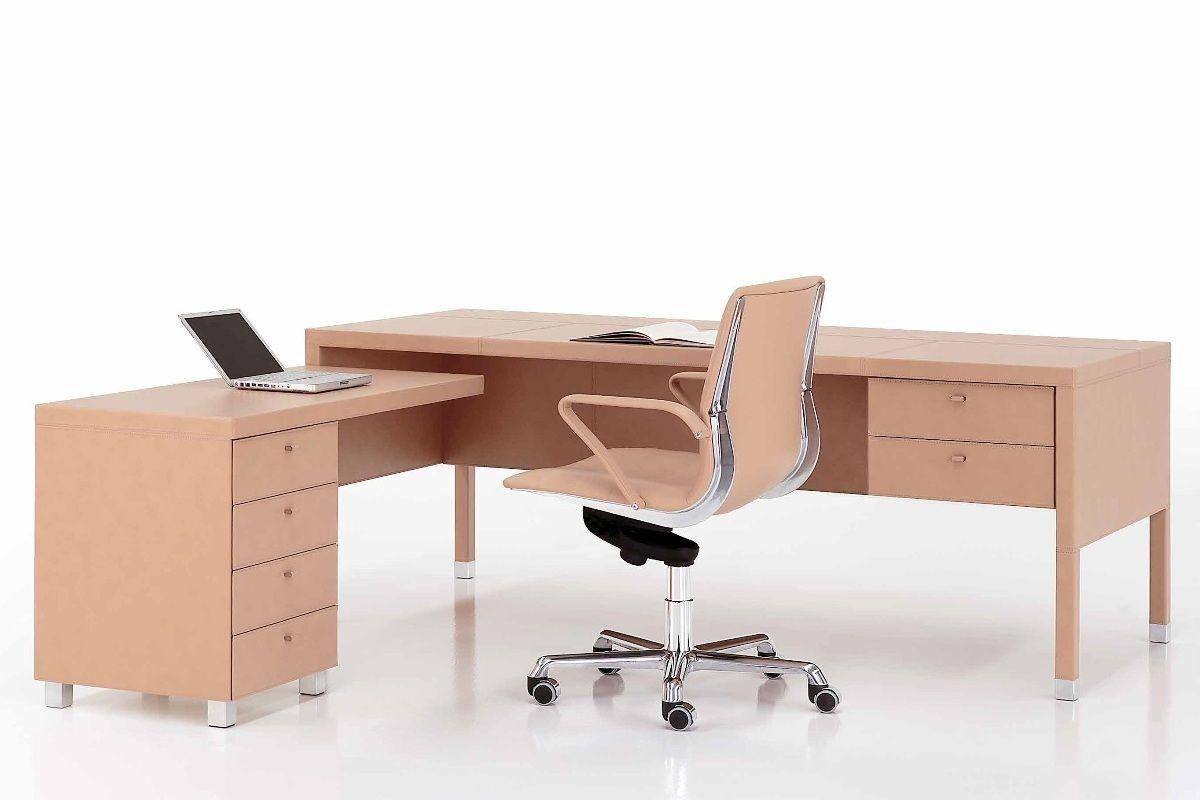 Krémový Kožený Stůl L104