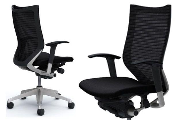 Okamura CP Silver frame Black cushion seat Chair