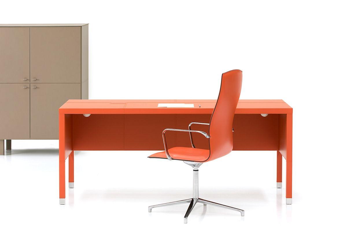 Pomerančový Kožený Psaci Stůl L100