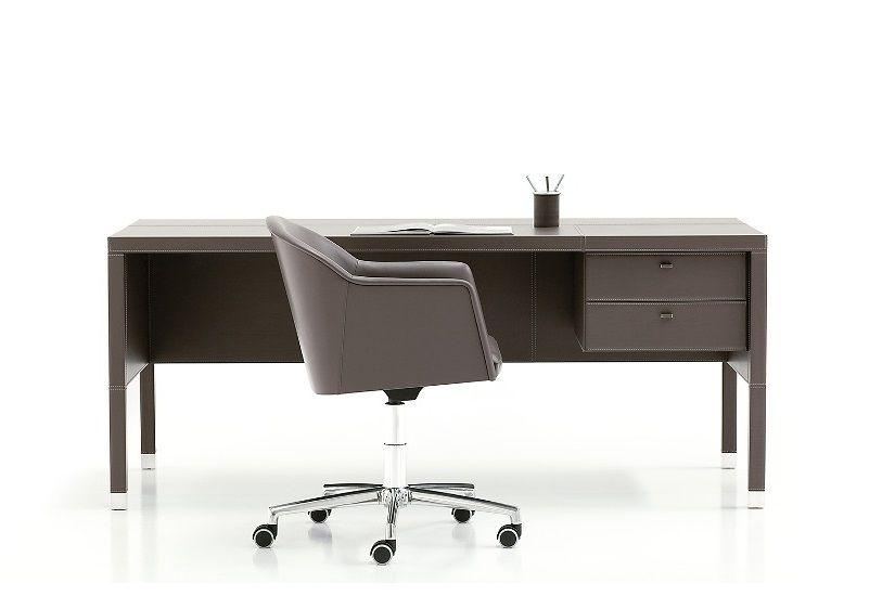 Kožený Psaci Stůl se Skříňkou L101