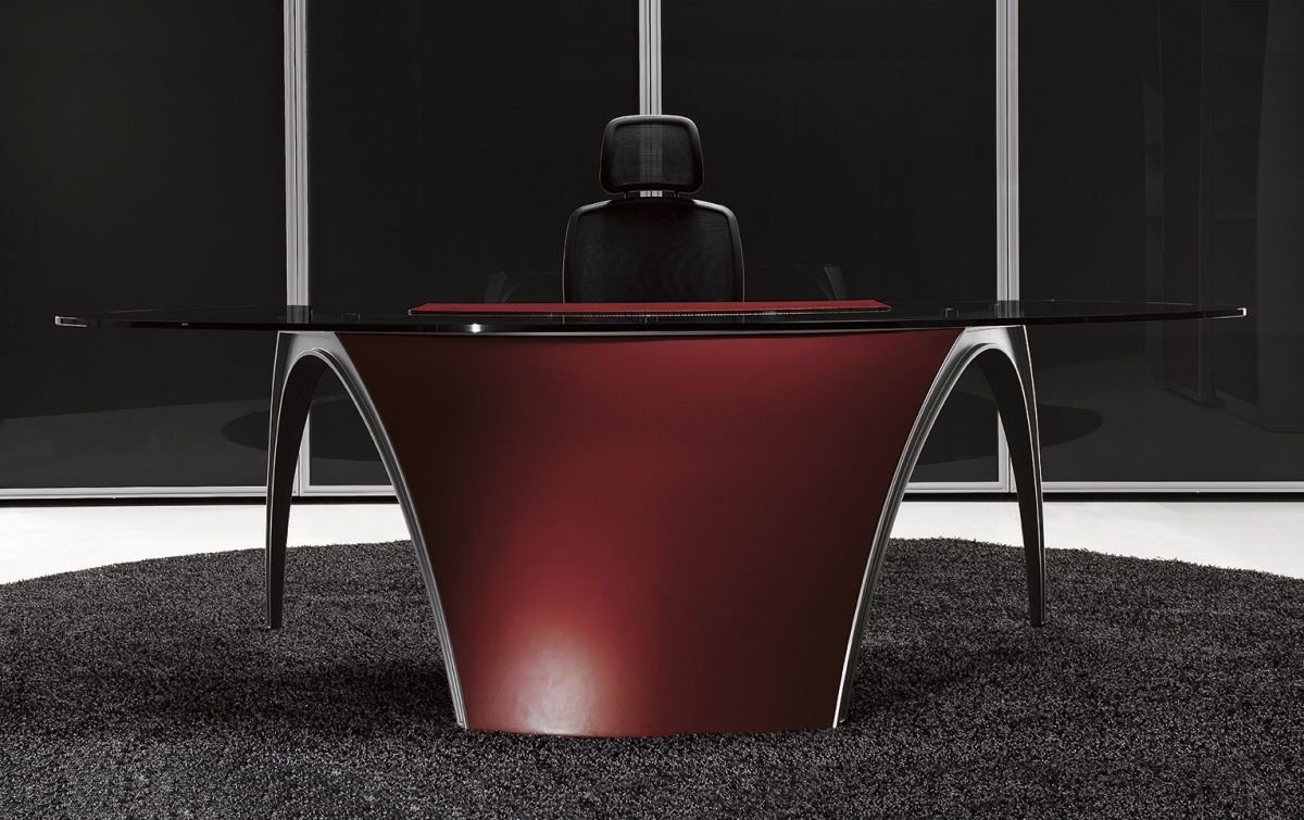 Designový Kancelářský Nábytek LUNA, červená kůže